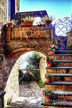 Little Stone Arch with Flowers  by George Oze