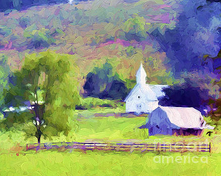 Little White Church In Summer by Kerri Farley