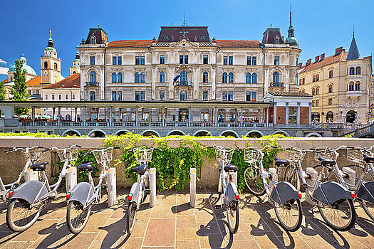 Ljubljana architecture and tourist bikes by Dalibor Brlek