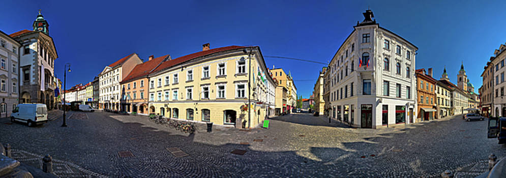 Ljubljana central square panoramic view by Dalibor Brlek