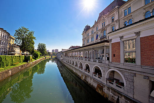 Ljubljana river and city riverfront view by Dalibor Brlek