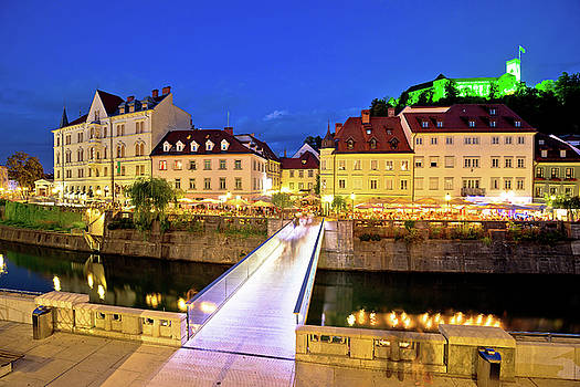 Ljubljanica river and Ljubljana castle evening view by Dalibor Brlek