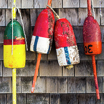 Lobster Buoys on Shingle Wall - Cape Neddick -  Maine by Steven Ralser