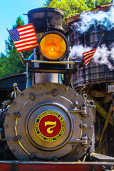 Locomotive And American Flag by Garry Gay