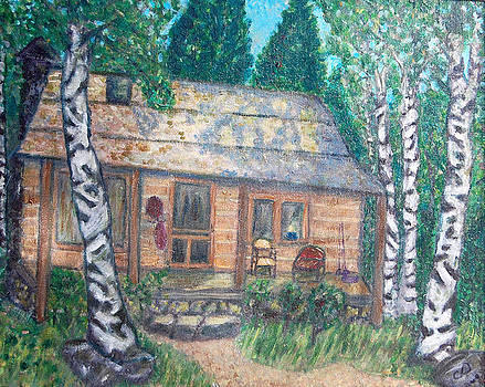 Log Cabin on Lake Moulton by Carolyn Donnell
