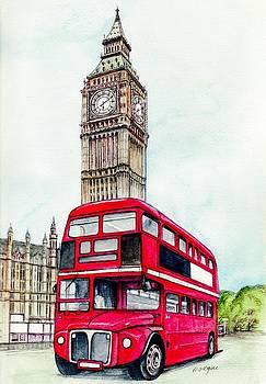 London Bus and Big Ben by Morgan Fitzsimons
