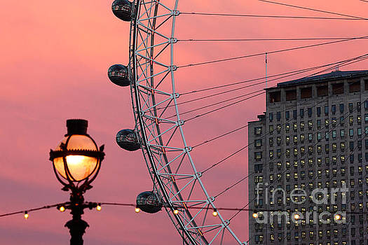 James Brunker - London Eye and Shell Centre Building at Sunset