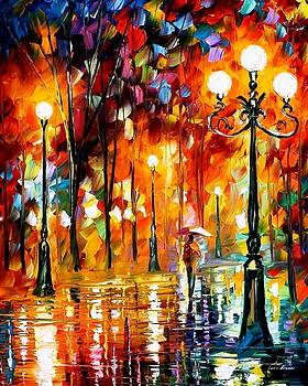 Lonely Night 3 - PALETTE KNIFE Oil Painting On Canvas By Leonid Afremov by Leonid Afremov