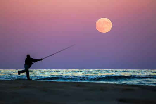 Long Island Fishing Under Full Moon by Ryan Moore