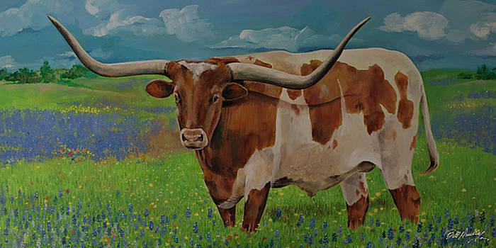 Longhorn in Bluebonnet by Bill Dunkley