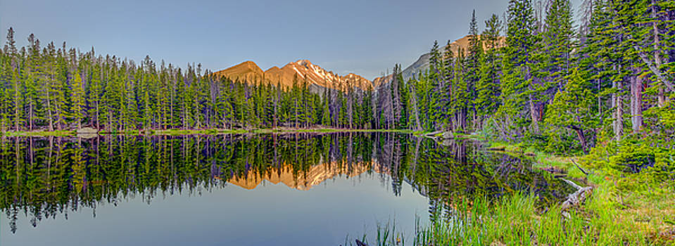 Longs Peak from Nymph Lake at Sunset by Fred J Lord