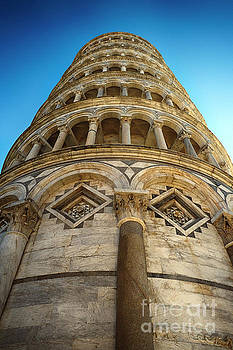 Looking up to the Leaning Tower of Pisa by George Oze