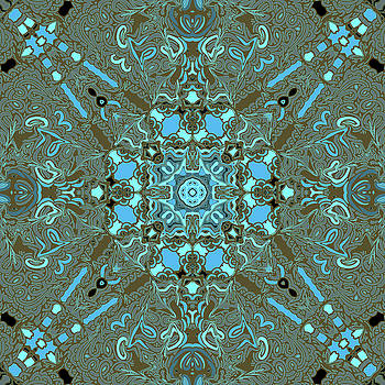 Loops Turquoise and Gold Kaleidoscope by Joy McKenzie