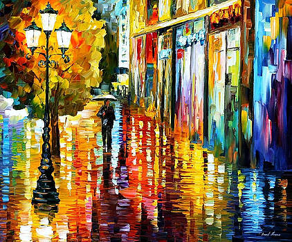 Lost In The Rain - PALETTE KNIFE Oil Painting On Canvas By Leonid Afremov by Leonid Afremov