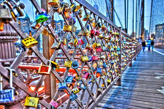 Love Locks on the Brooklyn Bridge by Randy Aveille