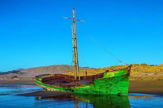 Low Tide Green Fishing Boat by Garry Gay