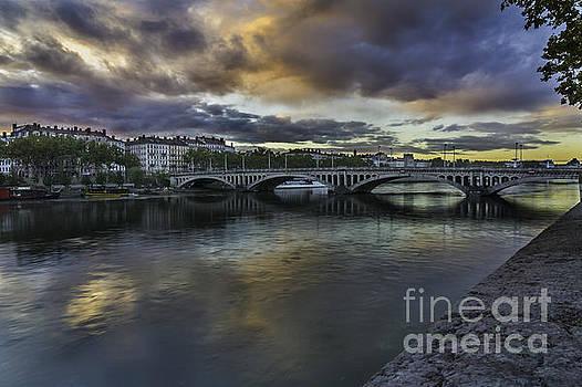 Lyon Across The Rhone At Dawn by Steve Rowland