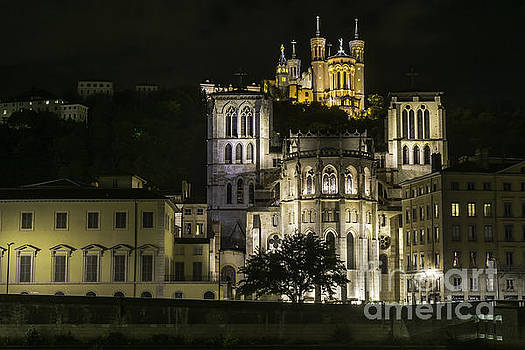 Lyon Cathedrals At Night by Steve Rowland