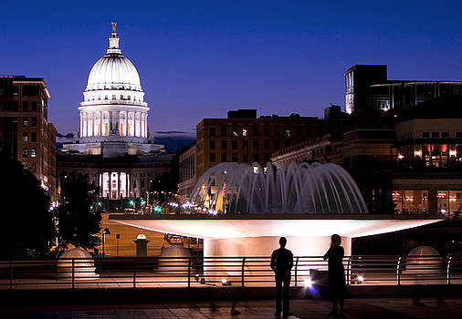 Madison Downtown Capitol at Night from Monona Terrace by Michael Dykstra