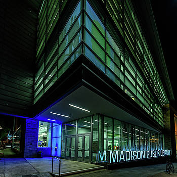 Madison Public Library at Night by Randy Scherkenbach