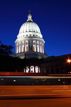Madison Wisconsin Capitol Building at Night by Michael Dykstra