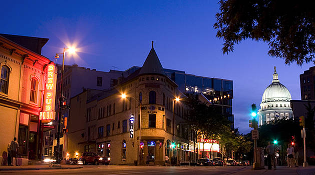 Madison Wisconsin King Street with Capitol View by Michael Dykstra