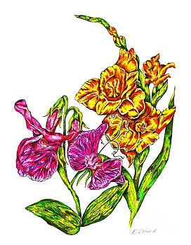 Gladiola and Sweet Pea Flowers by Karen Sirard