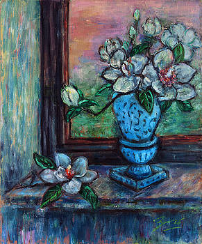 Magnolias in a Blue Vase by the Window by Xueling Zou