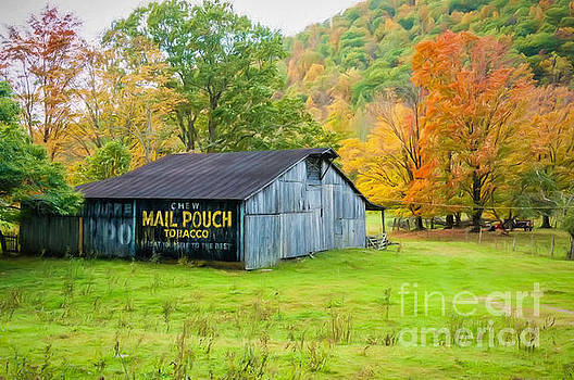 Kathleen K Parker - Mail Pouch Barn WV-digital art
