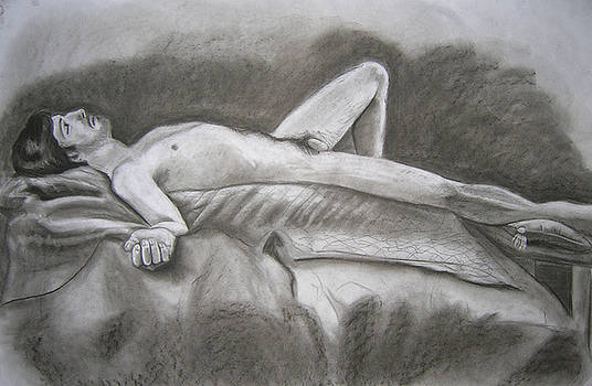 Male Lying Nude Study by Candace Barnett