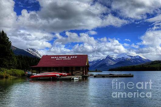 Maligne Lake and Boat House Jasper National Park Alberta Canada by Wayne Moran