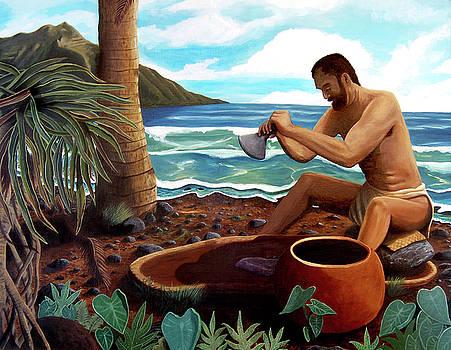 Man pounding poi by Manupupule