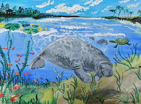 manatee in the Lagoon by Renate Pampel