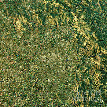 Manchester Topographic Map Natural Color Top View by Frank Ramspott