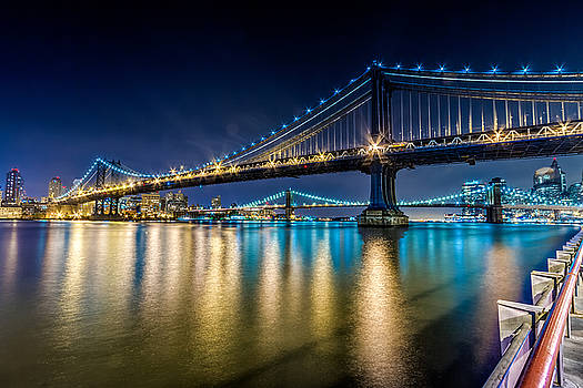 Manhattan and Brooklyn Bridges at night. by Val Black Russian Tourchin