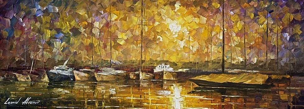 Marina Of Silence - PALETTE KNIFE Oil Painting On Canvas By Leonid Afremov by Leonid Afremov