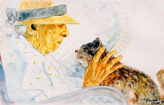 Marjory and her cat by Ruth Mabee