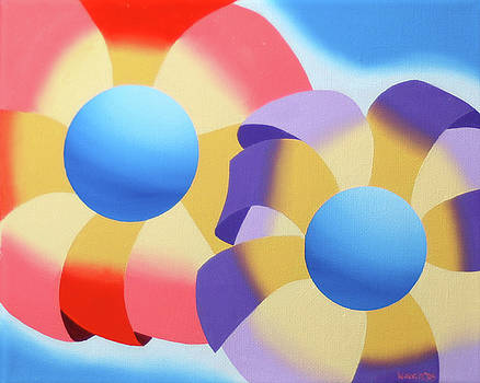 Mark Webster - Abstract Futurist Flowers Oil Painting by Mark Webster