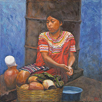 Market girl selling atole by Judith Zur