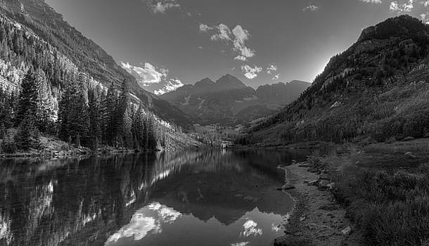 Maroon Bells Colorado B W by Steve Gadomski