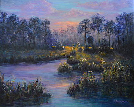 Marsh Sunset Nature Wetland Trees Print of Panting by Amber Palomares