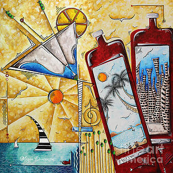Martini Glass Tropical Nautical PoP Art Painting A Toast to the Good Life by MADART by Megan Duncanson