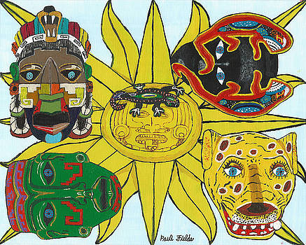 May  Aztec Masks by Paul Fields
