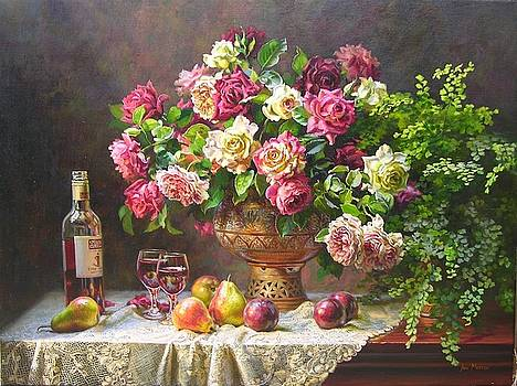 May roses and wine by Ann Morton