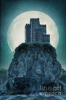 Medieval Castle On A Cliff With Full Moon by Lee Avison