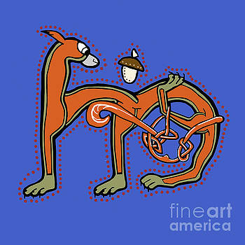 Medieval Squirrel Letter M by Donna Huntriss