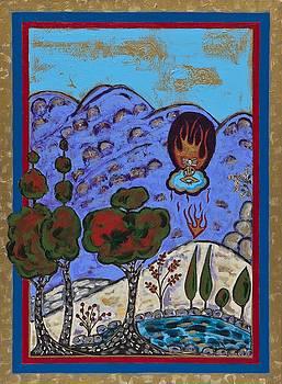 Meditating Master A Heart Afire by Maggis Art