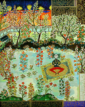 Meditating Master in Courtyard by Maggis Art