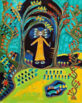 Meditating Master in Fantasy Garden  by Maggis Art