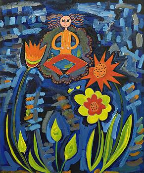 Meditating Master in Moonlit Garden by Maggis Art